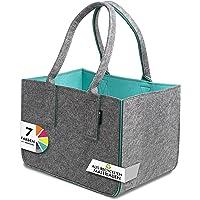 Tebewo Shopping Bag aus recyceltem Filz-Stoff, große Einkaufs-Tasche, zweifarbig dunkelgrau/türkis, Lange Henkel…