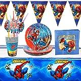 Yisscen Vaisselle de fête 30 pièces Vaisselle Spiderman Enfant Anniversaire,Décoration de Table 6 Personnes Decoration Annive