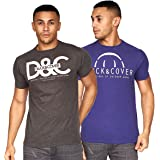 Duck and Cover Mens Graphic T-Shirt (2 Pack) Crew Neck Top Tee