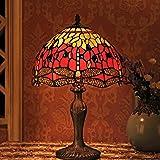 Gweat Tiffany 12 Pouces Vintage Style Européenne Vitrail Dragonfly Et Perle Chaud Coloré Série Lampe De Lampe De Tablee De Bu