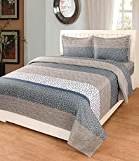 Astra Cotton Double King Size Bedsheets with 2 Pillow Covers Combo (Beige, cb08)