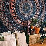 Craftozone Tapiz Regalo tapices Hippie Elefante Mandala Bohemio psicodélico intrincado Indio Colgante de Pared Ropa de Cama C