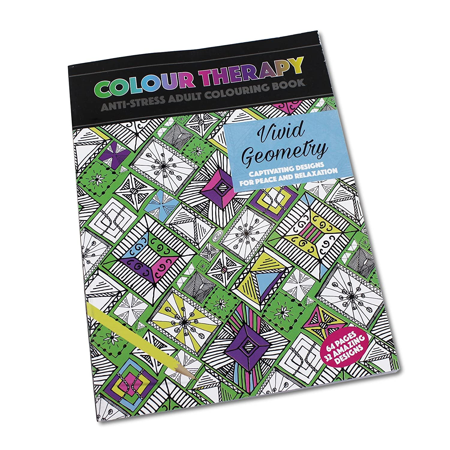 Colour therapy for relaxation - Colour Therapy Anti Stress Colouring Book Vivid Geometry 64 Pages Paperback Amazon Co Uk Kitchen Home