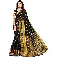 Anni Designer Women's Chanderi Silk Jacquard Butta Saree With Blouse Piece