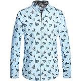 SSLR Camisa con Estampado de Animal Tiburón Manga Larga de Algodón para Hombre