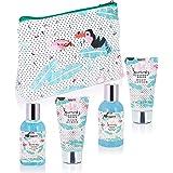 BRUBAKER Cosmetics - Coffret de bain & douche - Noix de coco/Flamant rose - 5 Pièces - Trousse de toilette pratique - Idée ca