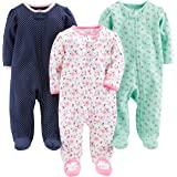 Simple Joys by Carter's Pieds en Coton pour Dormir et Jouer Bébé Fille, Lot de 3
