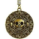 Collar con encanto de calavera, medallón de moneda azteca de Piratas del Caribe