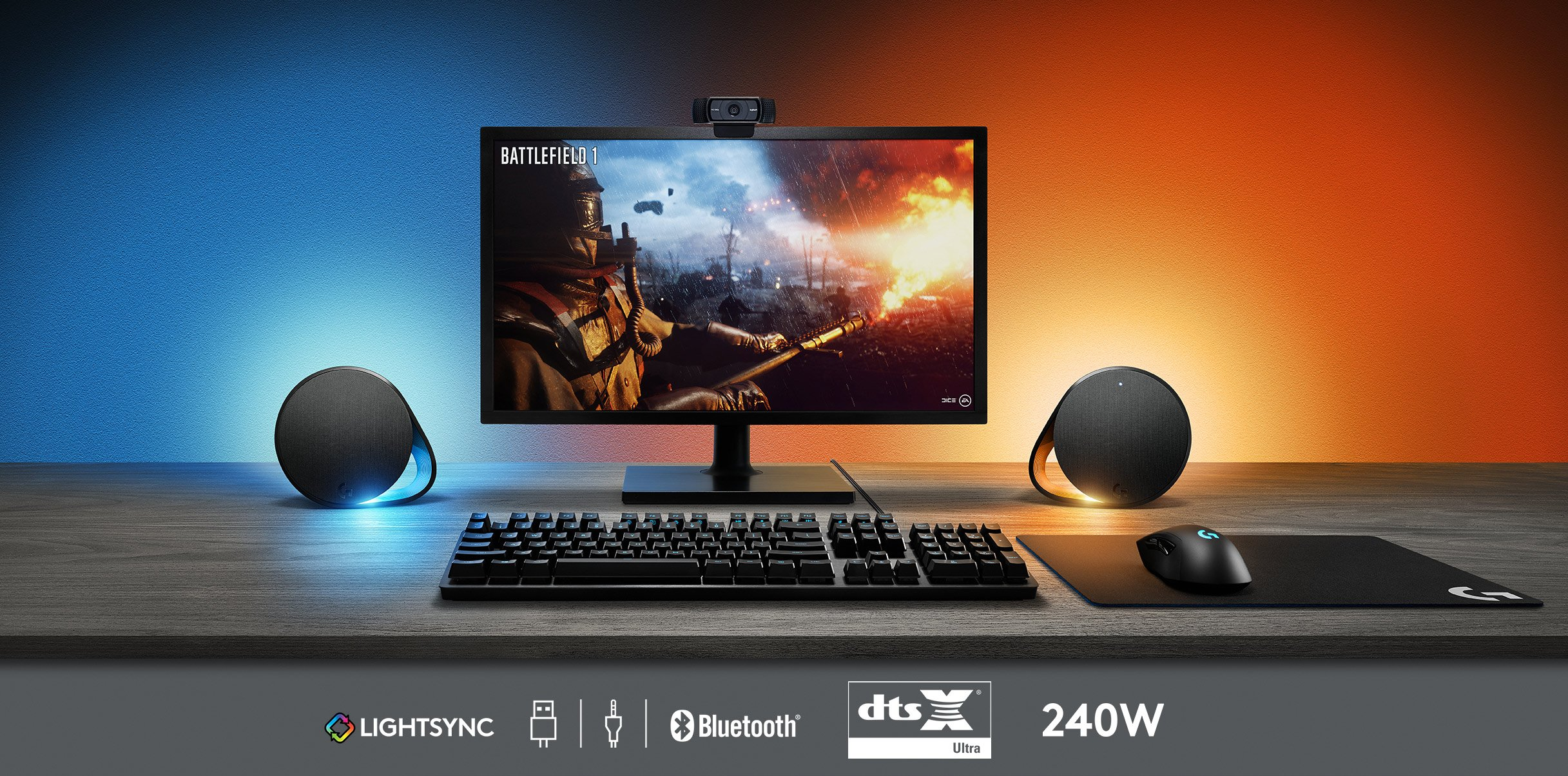 91lB6WbwTyL - Logitech G560 PC Gaming Ultra Surround Sound Speakers with Game Driven RGB Lighting, UK Plug