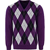 Maan Store Mens V Neck Classic Knitted Jumper Diamond Pattern Long Sleeves Golf Bowling Top