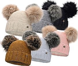 HEYO Damen Wintermütze mit Fleece Innenband Slouch Beanie Winter Mütze | Warme Strickmütze mit Zwei Bommeln | Bommelmütze mit Katzenohren