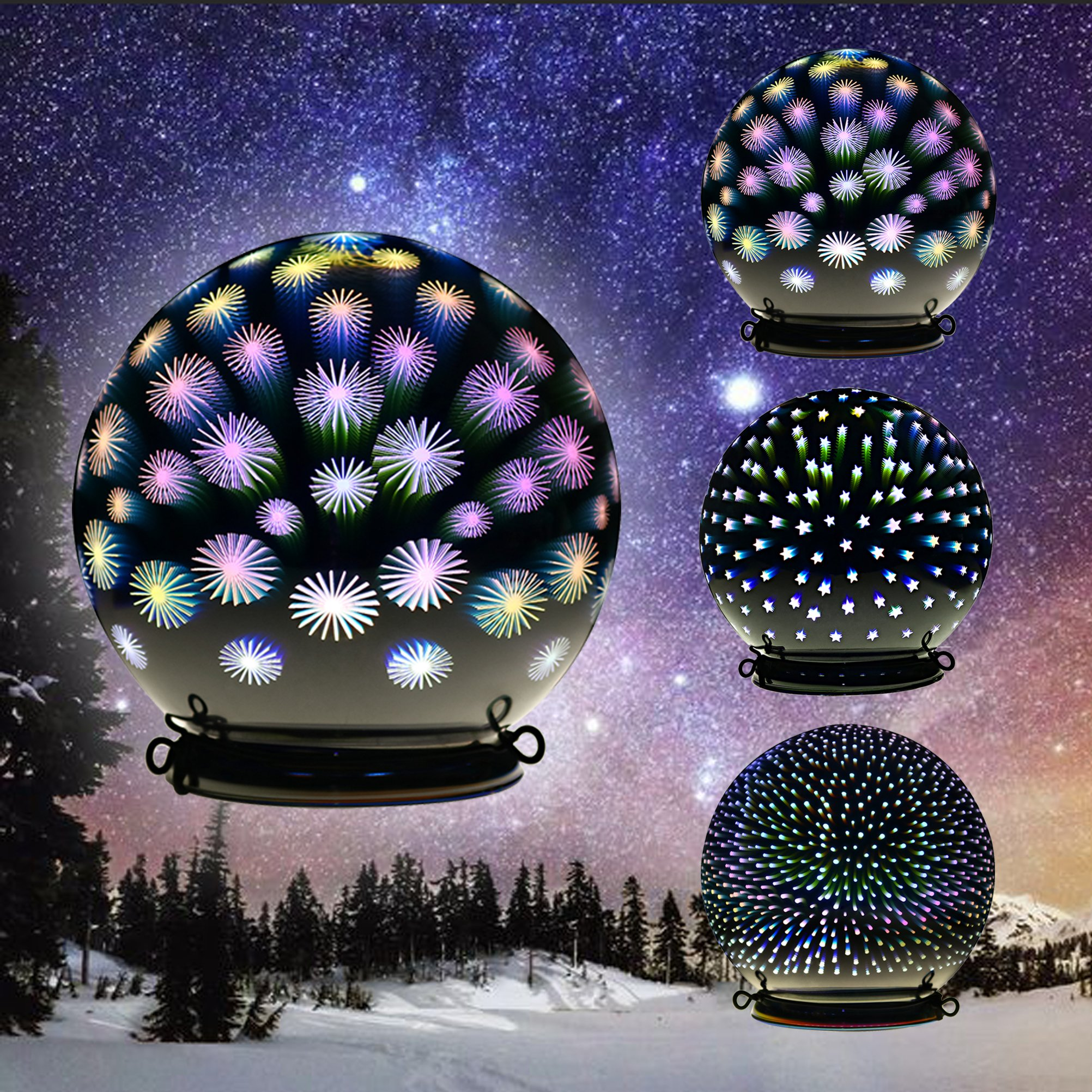Christmas light glass ball lamp indoor outdoor decoration for 3d garden decoration