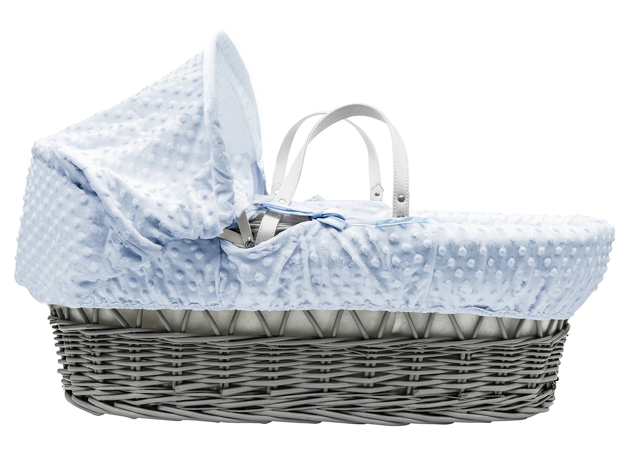 Blue Dimple Grey Wicker Padded Moses Basket & Deluxe Grey Rocking Stand Elegant Baby Suitable from newborn for up to 9kg, this Moses Basket uses Easy-care Poly Cotton with a soft padding surround Suitable from newborn to 9 months It also includes a comfortable mattress and an adjustable hood perfect to create a cosy sleeping space for your precious little one 2