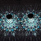 Gadgy Solarny zestaw lampionów kul Niebieski lub Czerwony | 2 sztuki | Szklana lampa stołowa LED na zewnątrz | Ogród Balkon D