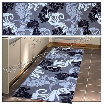 Tappeto da cucina nero grigio, moderno e lavabile in lavatrice (cm ...
