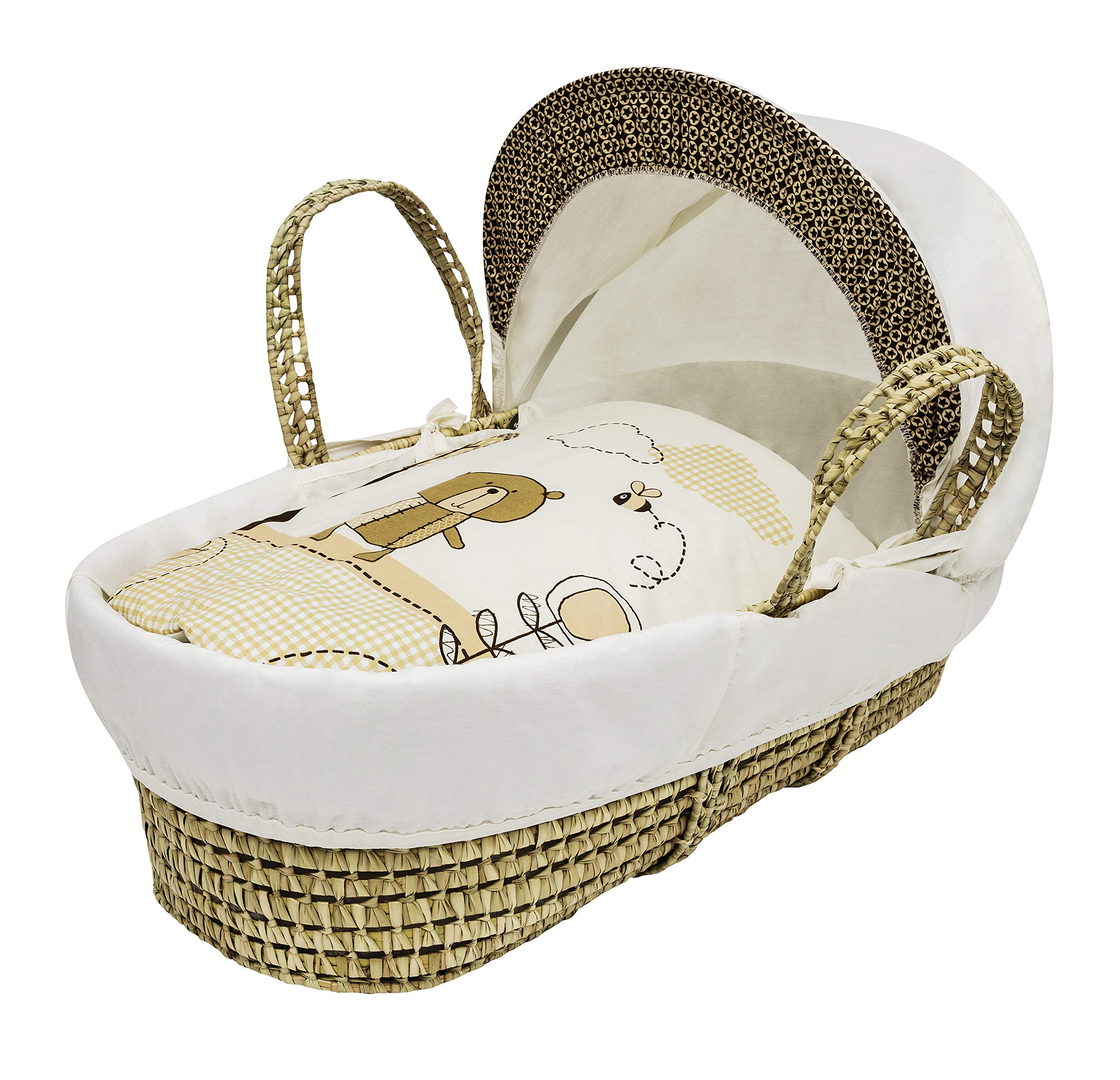 Beary Nice Cream Moses Basket Dressings only(Basket not included) Elegant Baby Dressings For Moses Baskets Includes Padding,Quilt, Liner,Fabric Hood Basket and Mattress and Hood bars are NOT included 1