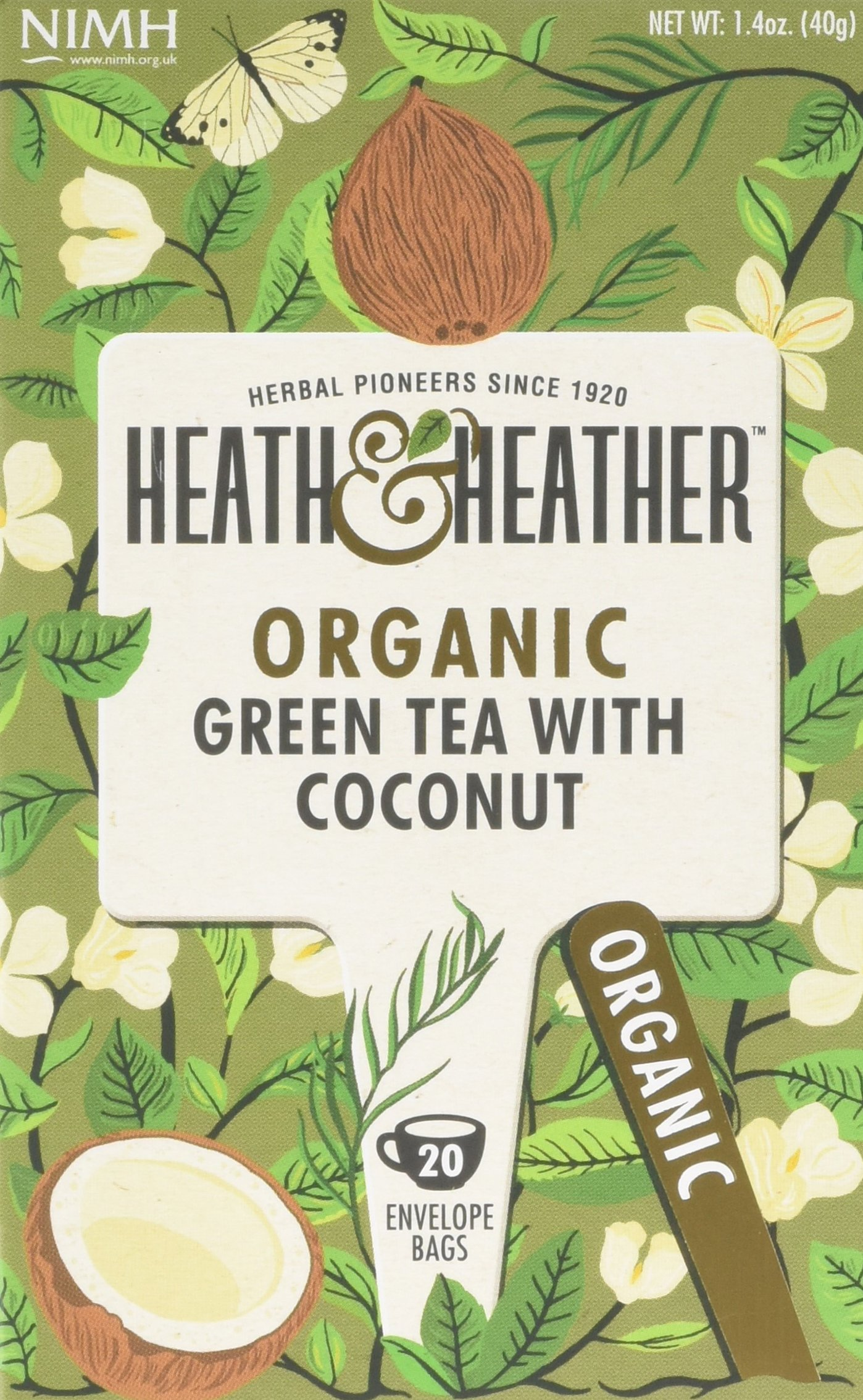 Heath & Heather organic green tea tea bundle (soil association) (green tea) (6 packs of 20 bags) (120 bags) (a fruity tea with aromas of coconut) (brews in 2-3 minutes)