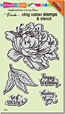 Stampendous CRS5103 Cling Fresh Peony W/Template