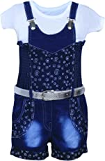 MPC Cute Fashion Baby Girl's Infant Jeans Dungaree Jumpsuit (Blue)