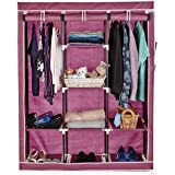 Amazon Brand - Solimo 3-Door Foldable Wardrobe, 8 Racks, Maroon
