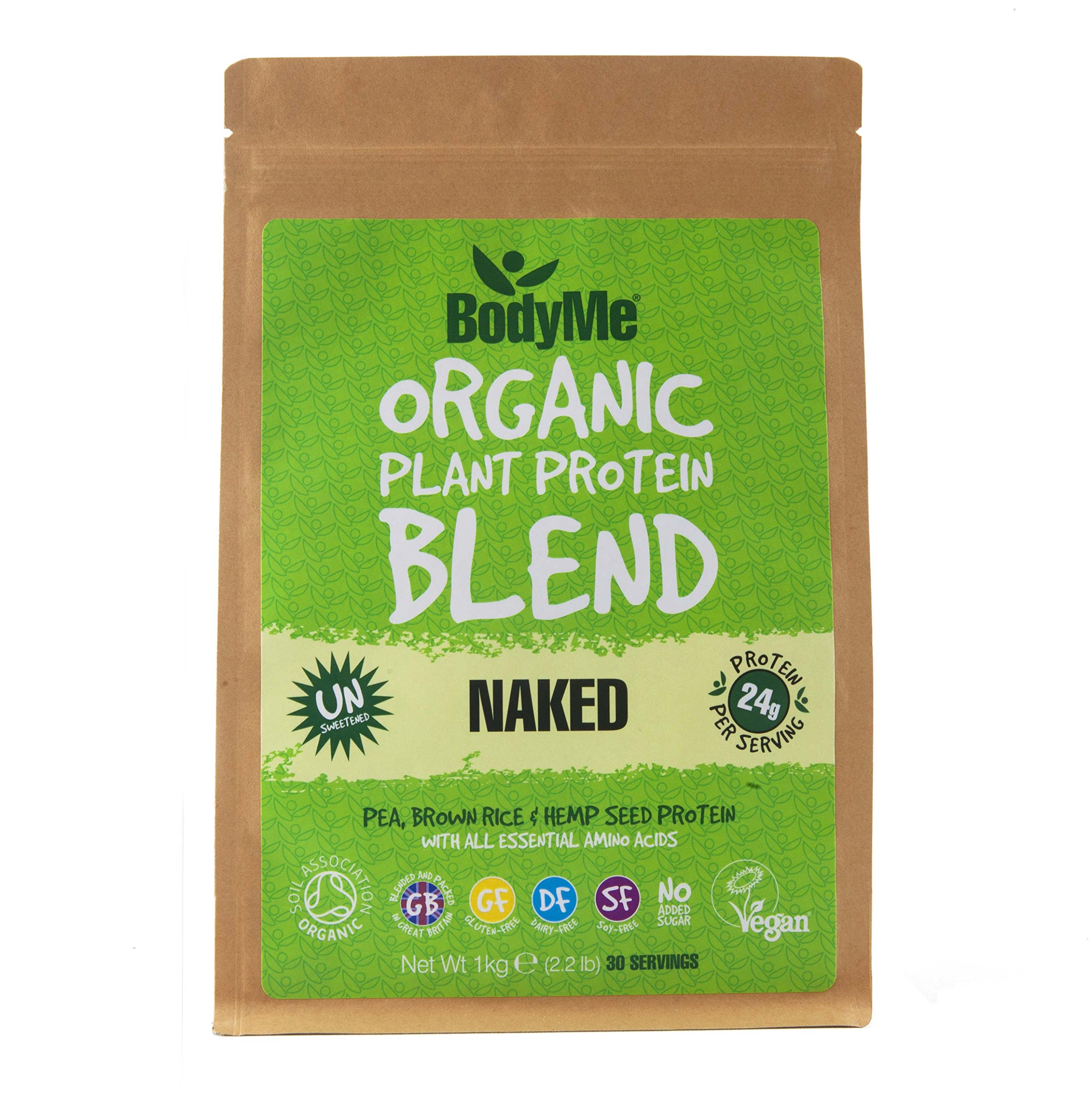 BodyMe Organic Vegan Protein Powder Blend | Naked Natural | 1kg | UNSWEETENED | Low Carb | with 3 Plant Based Vegan…