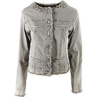 JOPHY & CO. Giacca Jeans Denim Donna Senza Colletto in Cotone con Finte Tasche e Perle su Rifiniture (cod. 987)