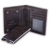 HIDE & SKIN Manchester Genuine Leather Wallet with Detachable Card Case for Men (Antique Brown)