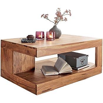 Wohnling Couchtisch Massiv Holz Akazie 90 Cm Breit Wohnzimmer Tisch Design  Natur Produkt Landhaus Stil Beistelltisch