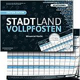 """STADT LAND VOLLPFOSTEN® - BLUE EDITION - """"Wissen ist Macht"""": DIN-A3 Block mit 50 Blatt, 43 lustige Kategorien bringen jeden H"""