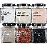 Sali Gourmet: Sale Nero Black Lava Hawaii (200g), Sale Rosso Alaea Hawaii (200g), Scaglie di Cipro (100g), Fiore di Sale Delt