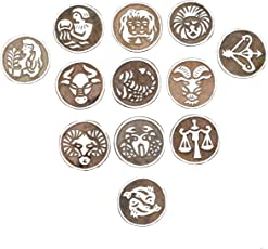 Hashcart Printing Stamps Astrology Horoscope Design Wooden Blocks (Set of 12) Hand-Carved for Saree Border Making Pottery Crafts Textile Printing