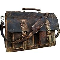 cuero Retro-Büffeljäger-Umhängetasche aus Leder für Laptop, Aktentasche, College-Tasche (45,7 cm)