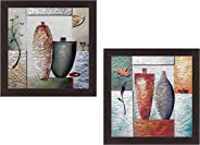 Wens 'Modern Art of Vases' UV Textured Wall Painting (Synthetic Wood, 35 cm x 71 cm x 2.5 cm, Brown, Set of 2)