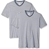 Amazon Essentials - Camisetas de manga corta y corte entallado con cuello en V y diseño a rayas para hombre