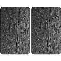 WENKO 2521499100 Protège-plaque universel XL Ardoise - lot de 2, pour tous les types de cuisinières, Verre trempé, 40 x…