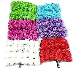 Evisha 6 Colours Beautiful Mini/Small Size Flowers for Art/Craft and Decoration (Evi671, Multicolour) - Set of 72