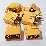 MR-Onlinehandel ® 5 Paar (10 Stück) XT90 Nylon Hochstrom Goldstecker + Buchse vergoldet bis 120A