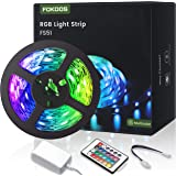 Tiras LED 5M, FOKOOS RGB Tira de luz flexible con 24 teclas IR Remote, LED Light can Cambio de color flexible para el hogar,
