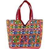 Craft Trade Women's Cotton Handmade Designer Multipurpose Handbag With Top Zip Embroidered Patch Work Rajasthani Hand Bag/Sho
