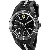 Orologio uomo analogico al quarzo cinturino in silicone nero e bianco, Scuderia Ferrari 0830249
