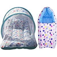 Nagar International Toddler Baby Mattress with Mosquito net in Multi colcor for New Born Baby (Blue Combo)