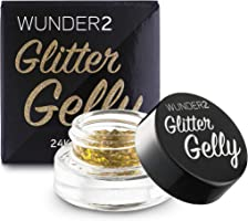 WUNDER2 GLITTER GELLY Long Lasting Glitter Gel - Face, Eye and Body Glitter Makeup, 24 Karat Color