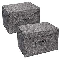 DIMJ Lot de 2 Boites de Rangement Lavable, Rangement de Vetement Pliable, Caisse de Rangement en Tissu avec Couvercles…