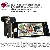 Funk- Video Türsprechanlage ALP-403 (nachfolge Modell ALP-400) NEU: verstellbare Kameralinse - 7 Zoll Farbdisplay - Drahtlose Gegensprechanlage - kabellose Installation - Bewegungssensor - Tür-Überwachung - erweiterbar bis zu 3 Monitore - Touchbuttons - Stromversorgung AC/DC (9-16V)