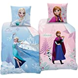 Familando CTI Wende Bettwäsche Set Disney`s Eiskönigin 135x200cm + 80x80cm Linon 2 Motive Diamonds CTI