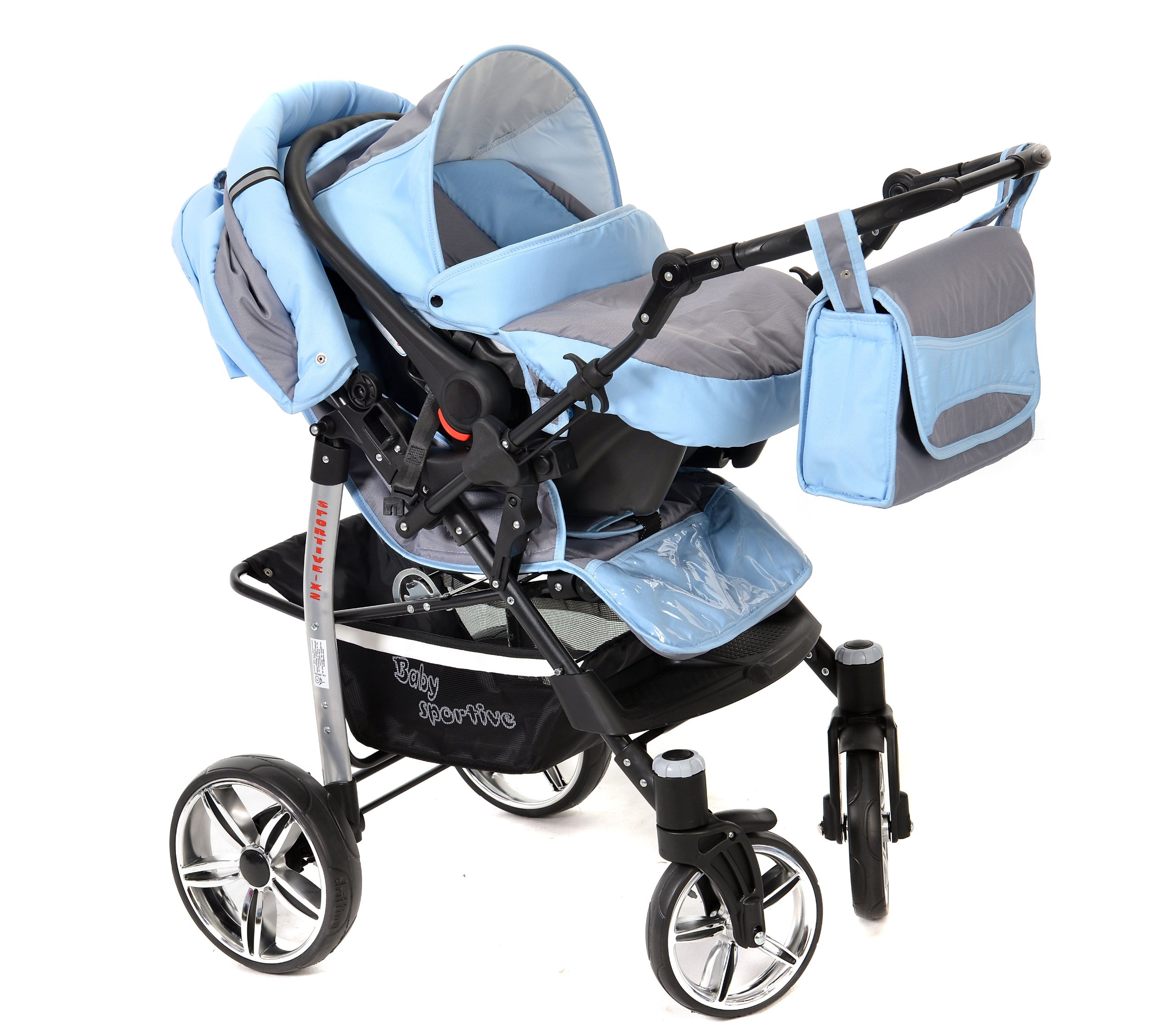Sportive X2, 3-in-1 Travel System incl. Baby Pram with Swivel Wheels, Car Seat, Pushchair & Accessories (3-in-1 Travel System, Pale Grey & Blue)  3 in 1 Travel System All in One Set - Pram, Car Carrier Seat and Sport Buggy + Accessories: carrier bag, rain protection, mosquito net, changing mat, removable bottle holder and removable tray for your child's bits and pieces Suitable from birth, Easy Quick Folding System; Large storage basket; Turnable handle bar that allows to face or rear the drive direction; Quick release rear wheels for easy cleaning after muddy walks Front lockable 360o swivel wheels for manoeuvrability , Small sized when folded, fits into many small car trunks, Carry-cot with a removable hood, Reflective elements for better visibility 6