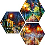 SAF Set of 3 Hexagon Couple Watercolor MDF Board UV Textured Painting 17 Inch X 17 Inch SANFHX128