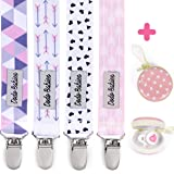 Pacifier Clip by Dodo Babies Pack of 4 + Pacifier Case, Premium Quality for Girls Modern Designs Universal Holder Leash for P