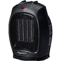 AmazonBasics Radiateur soufflant et pivotant en céramique avec thermostat réglable 1500 W, Noir