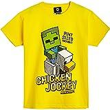 Minecraft Camiseta Niño, Ropa Niño Algodón 100%, Camisetas de Manga Corta con Diseño Chicken Jockey, Merchandising Oficial, R